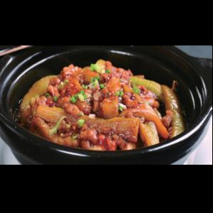 海米茄子煲 Marmite d'aubergine aux crevette sèches
