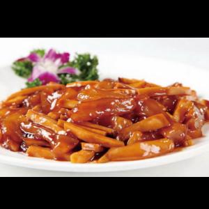 杏鲍菇烧蹄筋 Tendons de bœuf braisé sauté avec champignon