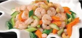 腰果虾仁 Crevettes décortiquées avec légumes et anacardes